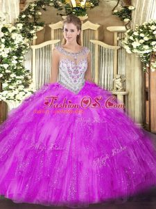 Fuchsia Zipper Scoop Beading and Ruffles Quince Ball Gowns Tulle Sleeveless