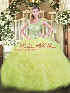 Sumptuous Yellow Green Ball Gowns Scoop Sleeveless Organza Floor Length Lace Up Beading and Ruffles and Pick Ups Quince Ball Gowns