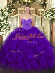 Traditional Purple Ball Gowns Beading and Ruffles Sweet 16 Quinceanera Dress Lace Up Organza Sleeveless Floor Length