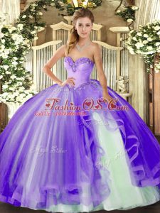 Lavender Sleeveless Floor Length Beading and Ruffles Lace Up Quinceanera Gown