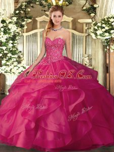Sleeveless Tulle Floor Length Lace Up Quinceanera Gown in Hot Pink with Beading and Ruffles