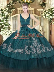 Enchanting Organza and Taffeta Straps Sleeveless Zipper Beading and Embroidery Vestidos de Quinceanera in Teal