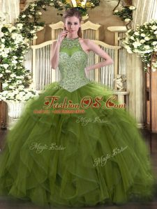Custom Fit Sleeveless Floor Length Beading Lace Up Quinceanera Gowns with Olive Green