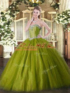 Clearance Olive Green Sweetheart Lace Up Beading Vestidos de Quinceanera Sleeveless