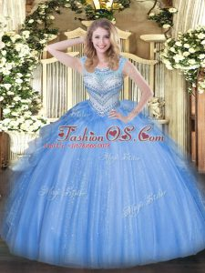 Blue Scoop Lace Up Beading Quinceanera Gown Sleeveless