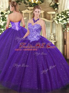 Inexpensive Sweetheart Sleeveless Tulle Quinceanera Dresses Beading Lace Up