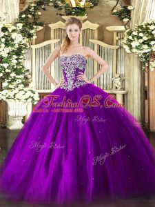 Fashion Purple Ball Gowns Tulle Strapless Sleeveless Beading Floor Length Lace Up 15 Quinceanera Dress