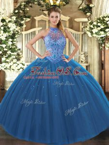 Fantastic Sleeveless Floor Length Beading and Embroidery Lace Up Quince Ball Gowns with Navy Blue