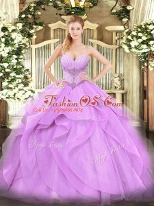 Lavender Ball Gowns Beading and Ruffles Sweet 16 Dresses Lace Up Tulle Sleeveless Floor Length