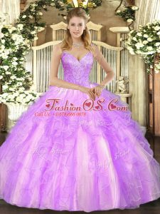 Trendy Lilac 15 Quinceanera Dress Military Ball and Sweet 16 and Quinceanera with Beading and Ruffles V-neck Sleeveless Lace Up