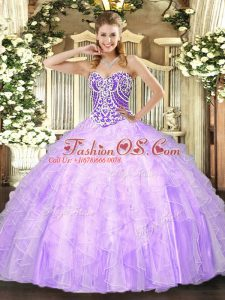 Floor Length Ball Gowns Sleeveless Lavender Quinceanera Gown Lace Up