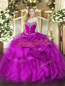 Classical Fuchsia Ball Gowns Beading and Ruffles Quinceanera Gown Lace Up Organza Sleeveless Floor Length