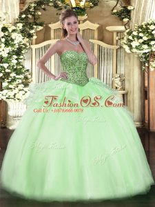 Chic Apple Green Ball Gowns Tulle Sweetheart Sleeveless Beading and Ruffles Floor Length Lace Up Sweet 16 Dress