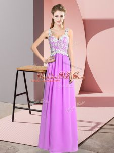 Pretty Lilac Chiffon Zipper V-neck Sleeveless Floor Length Casual Dresses Lace