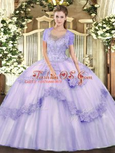 Glorious Scoop Sleeveless Tulle Sweet 16 Quinceanera Dress Beading and Appliques Clasp Handle