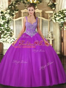 High End Ball Gowns Quinceanera Gowns Fuchsia V-neck Tulle Sleeveless Floor Length Lace Up