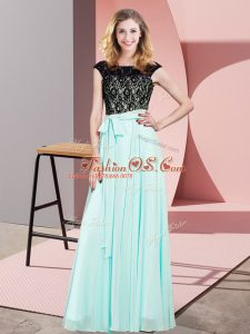 On Sale Aqua Blue Empire Chiffon Scoop Sleeveless Lace Floor Length Lace Up Evening Dress