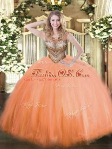 Floor Length Orange Red Quince Ball Gowns Scoop Sleeveless Lace Up