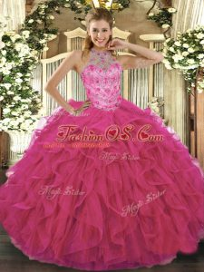 Fabulous Halter Top Sleeveless Lace Up Sweet 16 Quinceanera Dress Hot Pink Organza