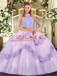 Discount Halter Top Sleeveless Tulle Sweet 16 Dress Beading and Appliques and Ruffles Lace Up
