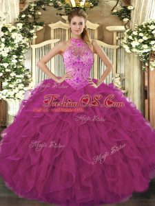 Comfortable Fuchsia Organza Lace Up Sweet 16 Dress Sleeveless Floor Length Beading and Embroidery and Ruffles