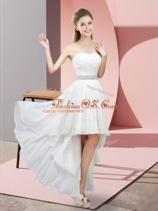 Captivating White Sleeveless Chiffon Lace Up Party Dress for Girls for Prom and Party