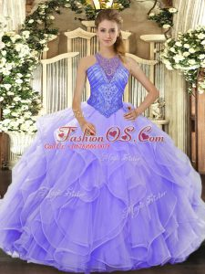 New Style Lavender Sleeveless Beading and Ruffles Floor Length Sweet 16 Quinceanera Dress