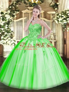 Deluxe Sleeveless Tulle Lace Up Ball Gown Prom Dress for Military Ball and Sweet 16 and Quinceanera