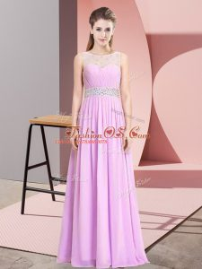 Sexy Sleeveless Floor Length Beading Lace Up Teens Party Dress with Lilac