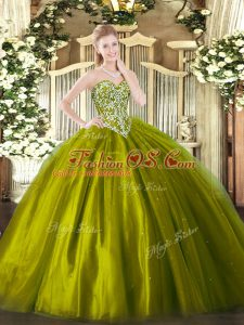 Fabulous Olive Green Sleeveless Beading Floor Length Quinceanera Dress