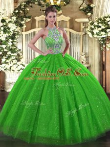 Lace Up Halter Top Beading Sweet 16 Dress Tulle Sleeveless