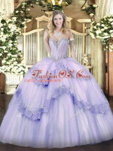 Glamorous Lavender Tulle Lace Up Sweetheart Sleeveless Floor Length Sweet 16 Quinceanera Dress Beading and Appliques