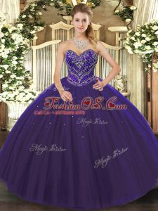 Charming Sweetheart Sleeveless Sweet 16 Dress Floor Length Beading Purple Tulle
