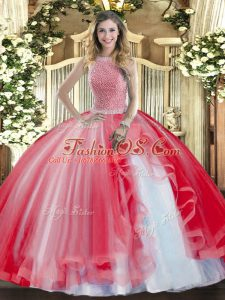Red Tulle Lace Up 15th Birthday Dress Sleeveless Floor Length Beading and Ruffles