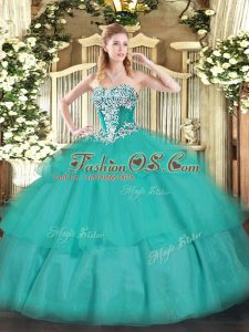 Artistic Tulle Sleeveless Floor Length Quinceanera Dress and Beading and Ruffled Layers