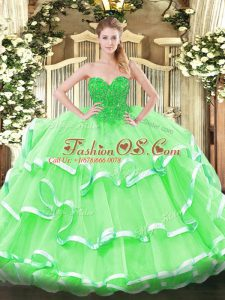 Beautiful Floor Length Apple Green Quinceanera Dress Organza Sleeveless Lace