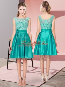 Glamorous Turquoise Bateau Zipper Lace and Hand Made Flower Teens Party Dress Sleeveless