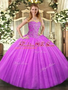 Customized Lilac Tulle Lace Up Sweetheart Sleeveless Floor Length Quince Ball Gowns Beading