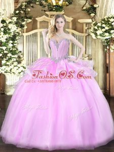 Glorious Lilac Sleeveless Organza Lace Up Quinceanera Gown for Military Ball and Sweet 16 and Quinceanera