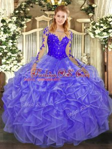 Designer Long Sleeves Floor Length Lace and Ruffles Lace Up Quinceanera Dress with Lavender