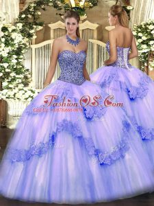 Flirting Sleeveless Tulle Floor Length Lace Up Sweet 16 Dresses in Lavender with Beading and Appliques and Ruffles