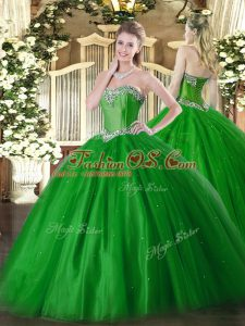 Perfect Green Quinceanera Dress Military Ball and Sweet 16 and Quinceanera with Beading Sweetheart Sleeveless Lace Up