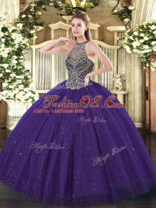 Purple Quinceanera Dresses Military Ball and Sweet 16 and Quinceanera with Beading Halter Top Sleeveless Lace Up
