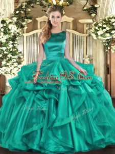 Hot Selling Organza Sleeveless Floor Length Sweet 16 Dresses and Ruffles
