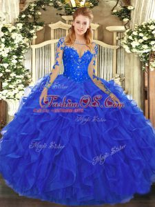 Floor Length Lace Up Quince Ball Gowns Royal Blue for Military Ball and Sweet 16 and Quinceanera with Lace and Ruffles