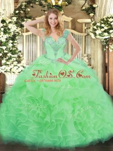 Organza V-neck Sleeveless Lace Up Ruffles Sweet 16 Quinceanera Dress in Apple Green