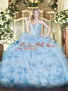 Blue Sleeveless Floor Length Beading and Ruffles Lace Up Quince Ball Gowns