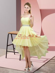 New Arrival High Low A-line Sleeveless Light Yellow Party Dresses Lace Up