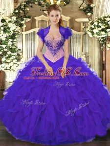 Floor Length Lace Up Quince Ball Gowns Purple for Military Ball and Sweet 16 and Quinceanera with Beading and Ruffles
