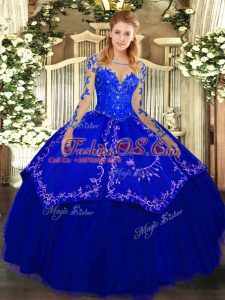 Free and Easy Royal Blue Lace Up Scoop Lace and Embroidery Quince Ball Gowns Organza and Taffeta Long Sleeves